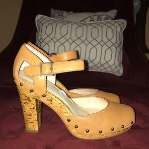 Calvin Klein Leather Cork Heel w/Stud Detail